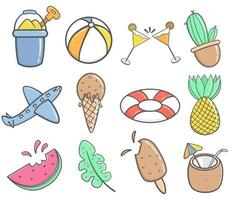 doodle summer item set vector