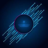 Abstract modern digital technology concept circle frame with circuit board diagonal element on blue background. vector