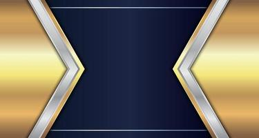 Abstract Gold and Silver Metallic Geometric Triangle Header vector