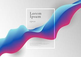 Forma de flujo de fluido degradado azul y rosa de moda abstracto con borde de marco sobre fondo blanco.