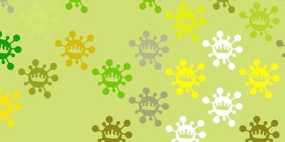 patrón de vector verde claro, amarillo con elementos de coronavirus.