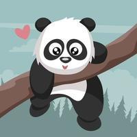 Tender panda bear climbing tree branch in Valentine vector