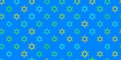 plantilla de vector azul claro, amarillo con signos de gripe.