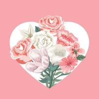 Valentines card with heart and bouquet of flowers vector