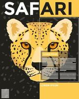 wild leopard animal head magazine template page vector