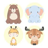 cute four animals comic characters vector