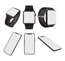 Bundle of smartwatches and smartphones devices mock-ups vector