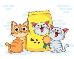 lindos gatos con bolsa de comida vector