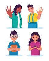 Campaña para detener el acoso escolar con víctimas jóvenes vector