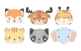 cute six animals comic cartoon characters vector