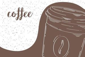 deliciosa taza de café, banner dibujado a mano vector