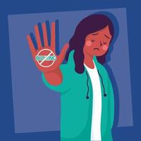 Joven mujer afro víctima de acoso con señal de stop vector