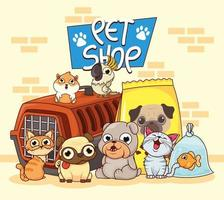 group of animals with pet shop items vector
