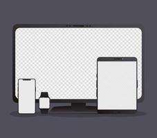 Bundle of electronic devices mock-ups vector