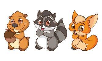 Linda ardilla con personajes de dibujos animados cómicos de zorro y mapache vector