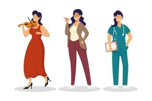 group of female workers vector