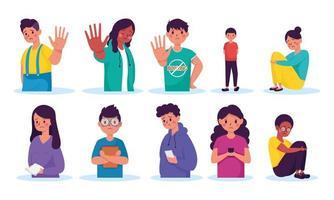 Campaña para detener el acoso con los jóvenes. vector