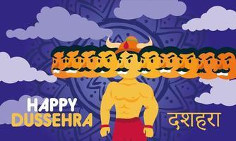 happy dussehra lettering with demon ravana of ten heads vector