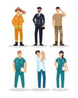 grupo de seis trabajadores