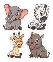 lindos cuatro animales bebés personajes de dibujos animados vector