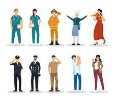 group of ten workers vector