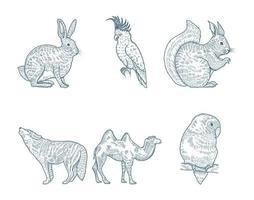 conjunto de animales dibujados a mano vector