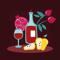 happy rosh hashanah with wine drink and fruits vector