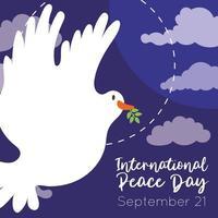 letras del día internacional de la paz con paloma volando en el cielo vector
