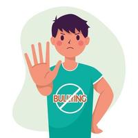 Joven víctima de acoso con la mano como señal de stop vector
