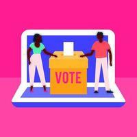 La democracia del día de las elecciones con votantes afro en urnas y portátiles vector
