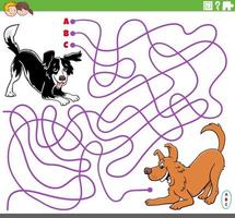 educational maze game with cartoon playful dogs vector