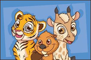 tigre lindo con personajes de dibujos animados cómicos ardillas y jirafas vector