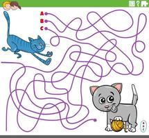 educational maze game with cartoon playful cats vector