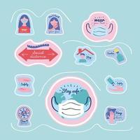 bundle of new normality campaign with letterings and icons vector