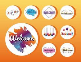 paquete de nueve cartas de bienvenida vector
