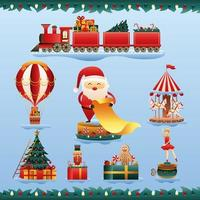 santa claus and bundle of christmas toys vector
