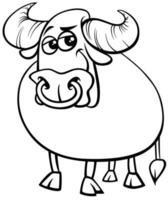 bull farm animal comic character coloring book page