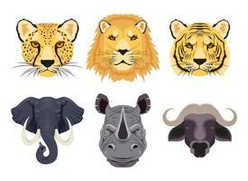 Wild animals characters head set vector