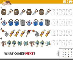 educational pattern task for kids with cartoon objects vector