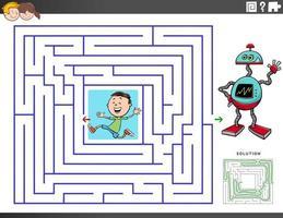 Laberinto juego educativo con niño y robot de juguete. vector