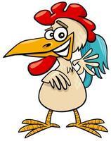 comic rooster bird farm animal cartoon character vector