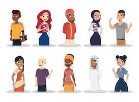 conjunto de jóvenes, concepto de diversidad vector