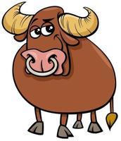 bull farm animal comic character cartoon illustration