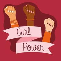 Girl power poster with interracial hands and ribbon frame vector