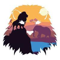 Escena de siluetas de leones y elefantes salvajes vector