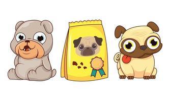 lindos perros y bolsa de comida vector