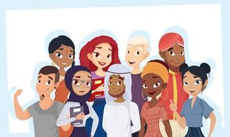 Set of young people, diversity concept vector