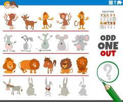 extraño juego de imágenes con divertidos personajes de animales vector