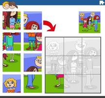 Tarea de rompecabezas con grupo de personajes infantiles vector