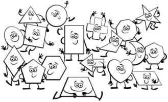 Cartoon Geometric Shapes Characters coloring book page vector